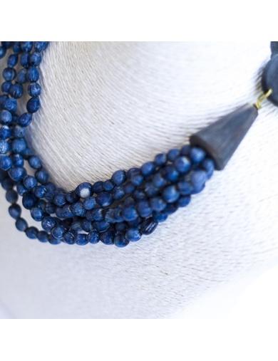Parure JAELLE bleue en larmes de job et corne - Atelier Calla-by ayizana - haiti