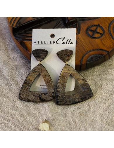 Boucles d'oreilles ANITA en corne - Handmade in Haiti-by ayizana - haiti