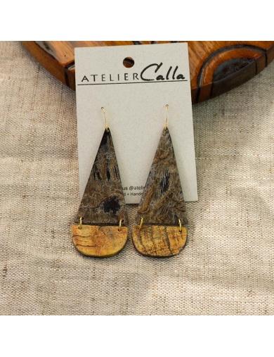 Boucles d'oreilles LAMI en corne - Handmade in Haiti-by ayizana - haiti