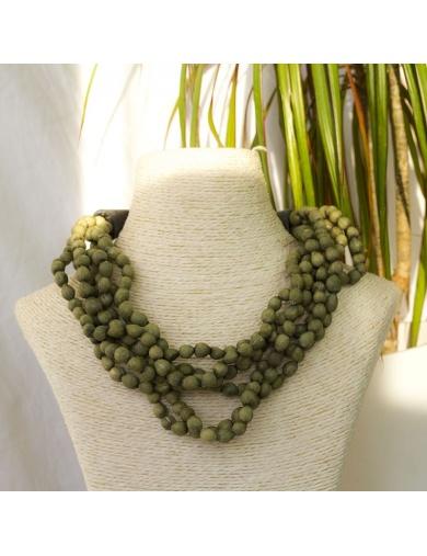 Collier JAELLE olive en larmes de job et corne - Atelier Calla-by ayizana - haiti