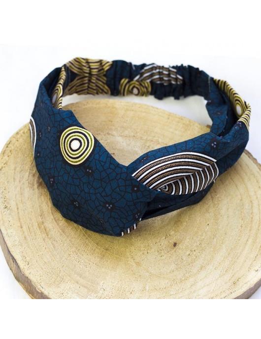 Pochette de soirée bleue entièrement brodée de perles avec bouton en corne-by Ayizana-RJEJ00653