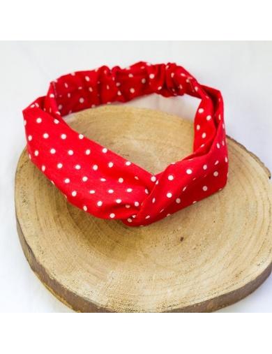 Headband rétro rouge à pois blancs -fait main-by ayizana - haiti