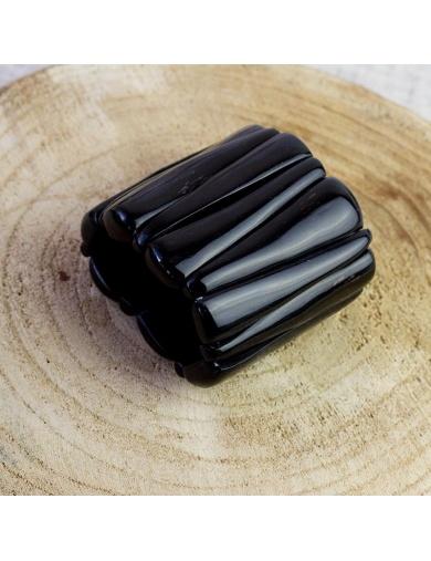 Bracelet manchette élastique noir en corne-fabriqué en Haïti