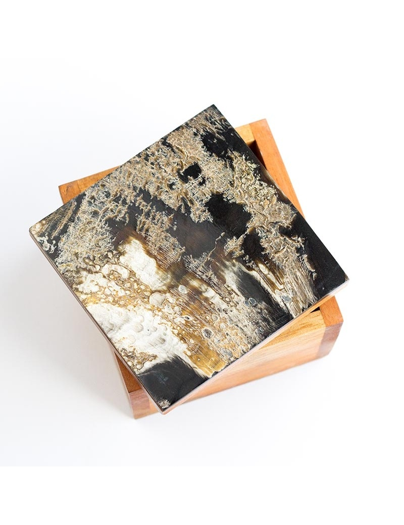 boîte de rangement en corne et bois made in Haiti