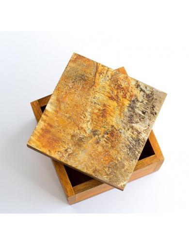 Boîte de rangement en bois et corne -Atelier Calla-by ayizana - haiti