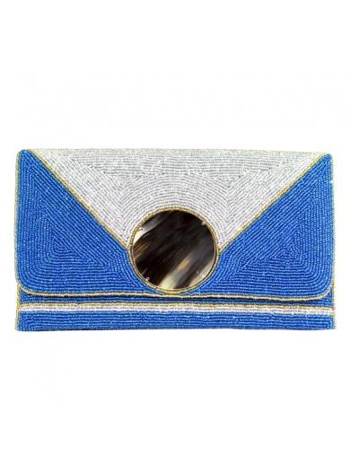 Pochette de soirée KARAYIB bleue en perles-by ayizana - haiti