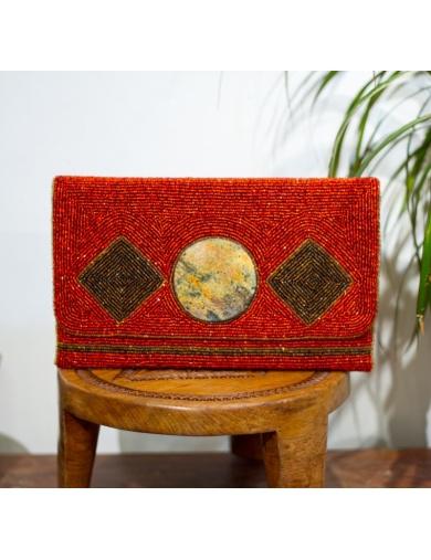 Pochette de soirée KARAYIB rouge en perles-by ayizana - haiti