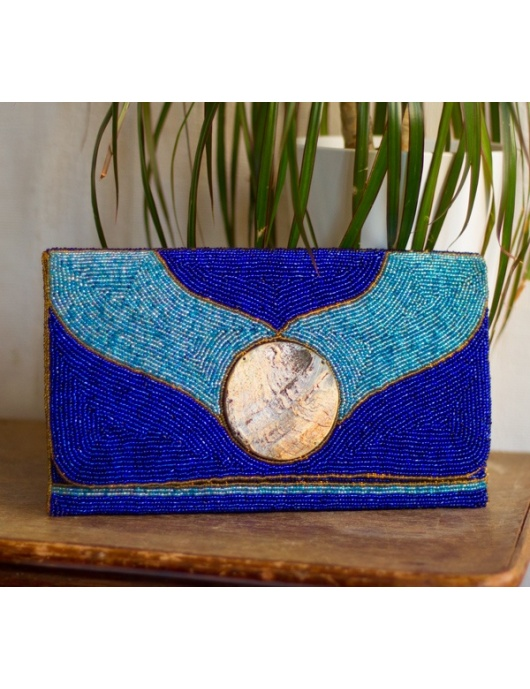 Pochette de soirée KARAYIB bleue en perles- Handmade in Haiti-by ayizana - haiti