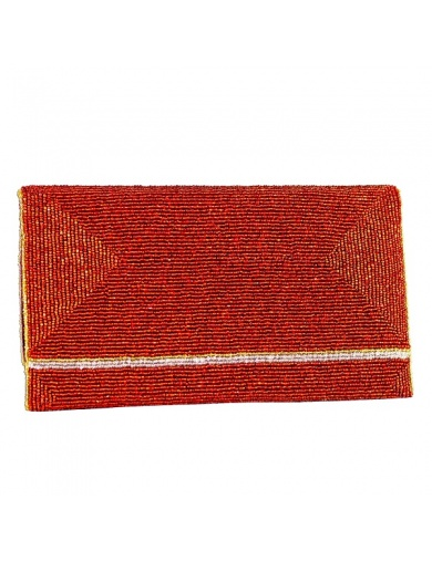 Pochette de soirée KARAYIB rouge en perles- Handmade in Haiti-by ayizana - haiti