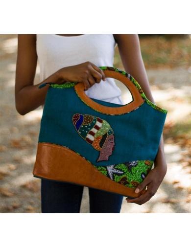 SAC CABAS AFRIKA EN CUIR ET TISSU-by ayizana - haiti